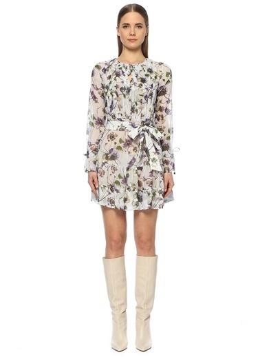 NetWork Çiçekli Volanlı Mini Elbise Lila